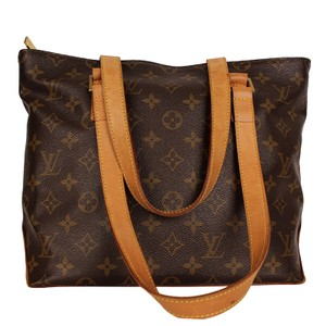 Louis Vuitton Cabas Piano Monogram Canvas Leather Tote in Brown