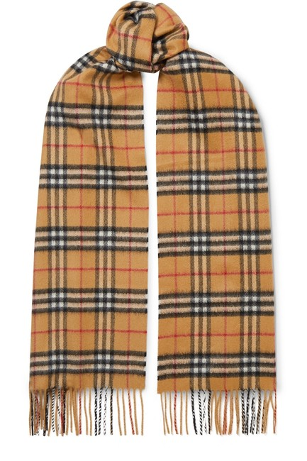 Item - Beige Check Brown Checked Cashmere Scarf/Wrap