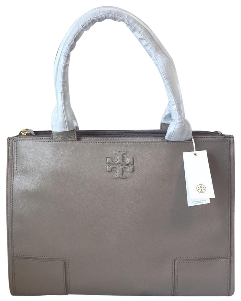 59736400dcfd Tory Burch Ella Leather French Gray Canvas Tote - Tradesy