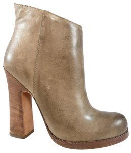 Jean-Michel Cazabat Side Zip Leather Vintage Curved Heel Taupe Boots