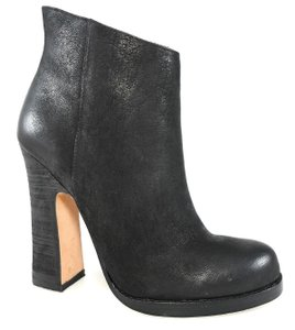 Jean-Michel Cazabat Side Zip Leather Vintage Curved Heel Black Boots