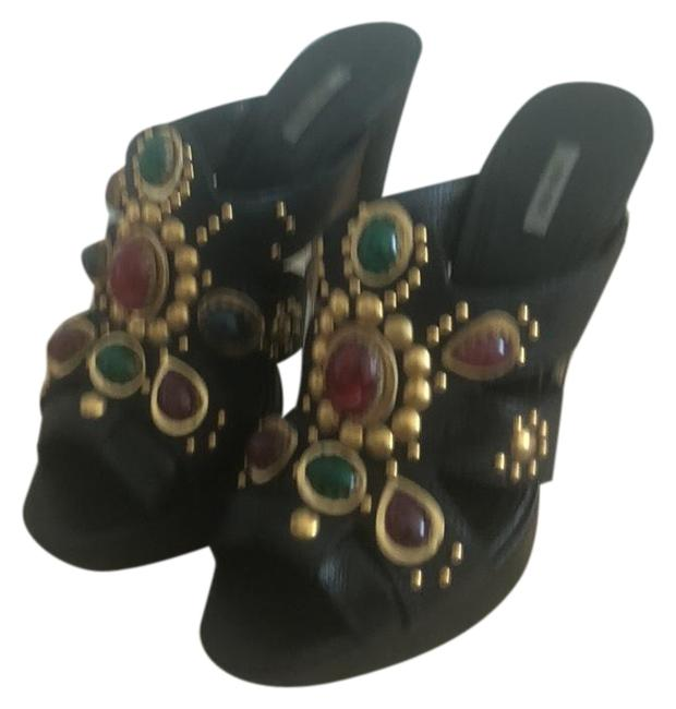 Item - Black Gold Green & Burgundy Buffalo Stone Mules/Slides Size EU 37 (Approx. US 7) Wide (C, D)