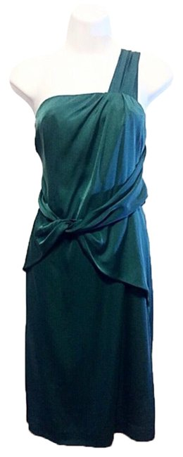 Banana Republic Teal One Shoulder Mid-length Night Out Dress Size 10 (M) Banana Republic Teal One Shoulder Mid-length Night Out Dress Size 10 (M) Image 1