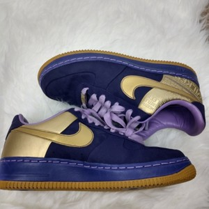 buy popular 73344 e7721 Nike Purple and Gold Air Force Wilkes Sneakers