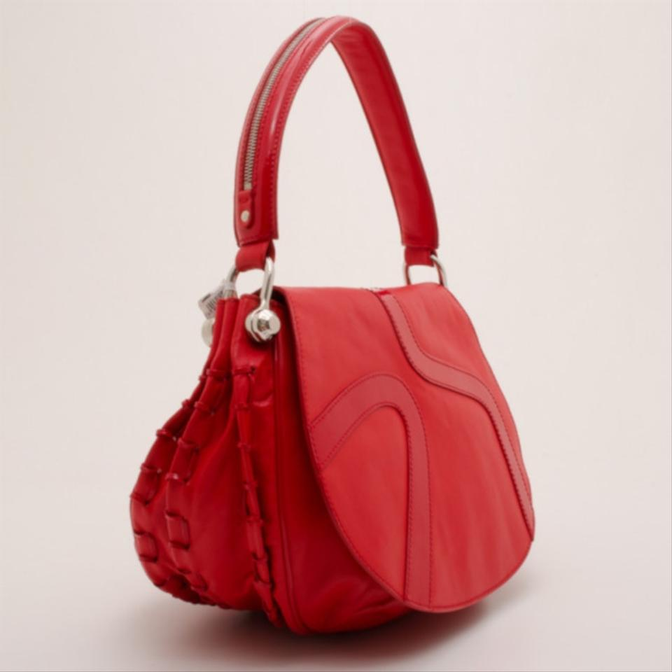 b8d6a94de0 Versace Rounded Red Leather Shoulder Bag - Tradesy