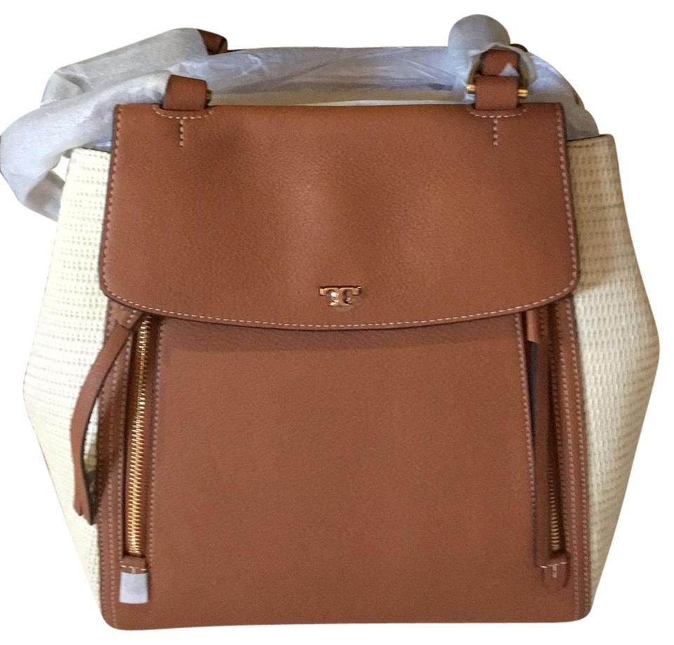 5499cf1122d9 Tory Burch Half-Moon Natural and Classic Tan Lambskin Leather Straw ...