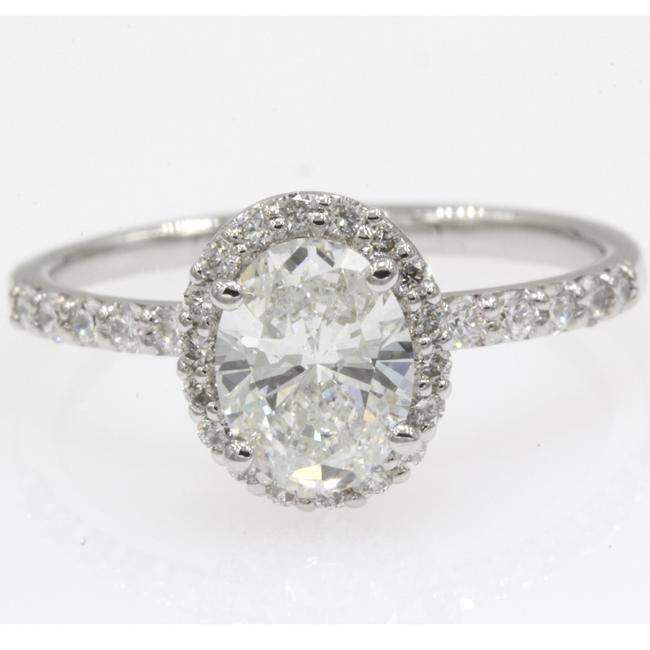 14k White Gold Gia Certified 1.20 Carat Oval Shape Halo Engagement Ring 14k White Gold Gia Certified 1.20 Carat Oval Shape Halo Engagement Ring Image 1