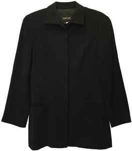Giorgio Armani Pin Stripe Wool Blend Covered Buttons Two Front Pockets Black Blazer