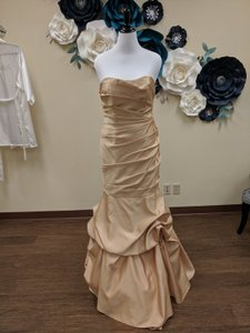 Alfred Angelo Gold Satin 7354l Modern Bridesmaid/Mob Dress Size 14 (L)