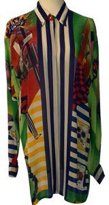 Versace Collection Top Bold Silk Multi Color