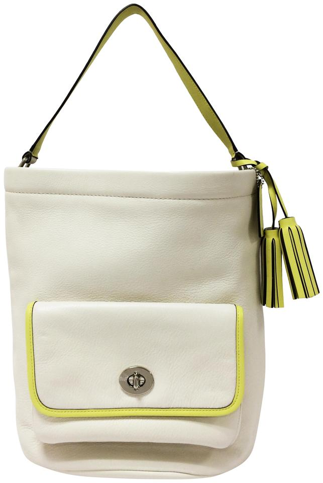 Coach Bucket 22407 Legacy Archival Tone White Leather Shoulder Bag 67 Off Retail