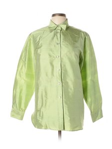 Neiman Marcus Silk Blouse Taffeta Vintage Button Down Shirt Green
