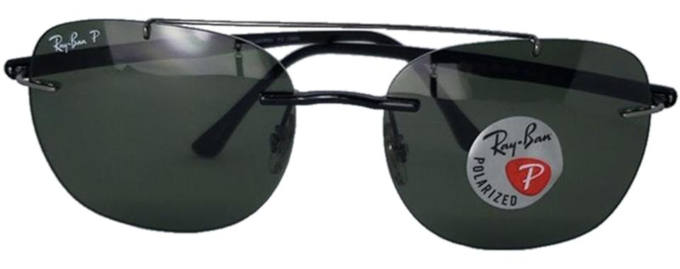 5af900f6425 Ray-Ban Silver Unisex Square Metal Frame with Green Polarized Lens  Sunglasses