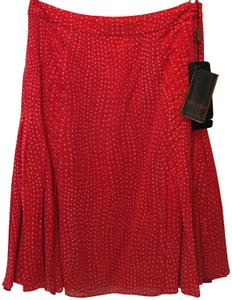 Escada Polka Dot Silk Pleated Detail New With Tags Skirt Red