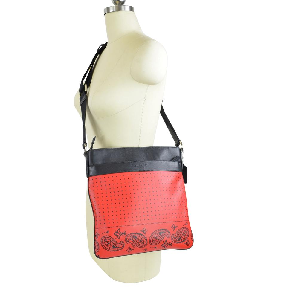 310cf770f6 Coach Charles Bandana Print Sport Calf 55961 Red/Black Leather Cross Body  Bag