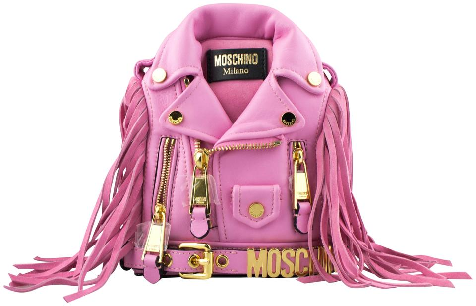 63ce649eee58e Moschino Mini Motorcycle Jacket Fringe Pink Leather Backpack - Tradesy