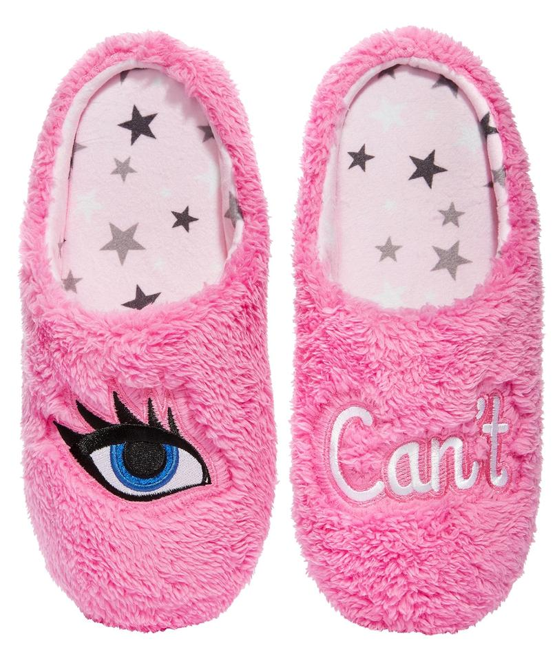 Pink Faux 'i Fur Fleece 'i Faux Can't' Slippers Mules/Slides 17823c