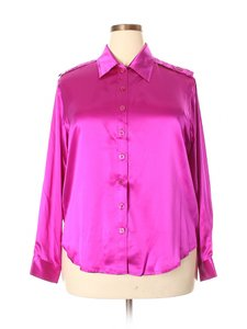 Folio Silk Blouse Saks Fifth Ave Shirt Button Down Shirt Magenta