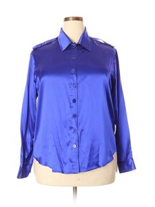Folio Silk Blouse Saks Fifth Ave Shirt Button Down Shirt Blue