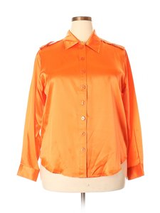 Folio Silk Blouse Saks Fifth Ave Shirt Button Down Shirt Orange
