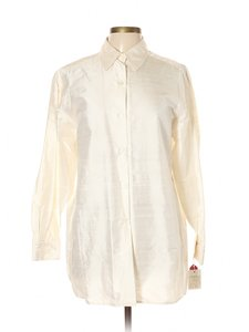 Folio Silk Blouse Saks Fifth Ave Shirt Taffeta Button Down Shirt Ivory
