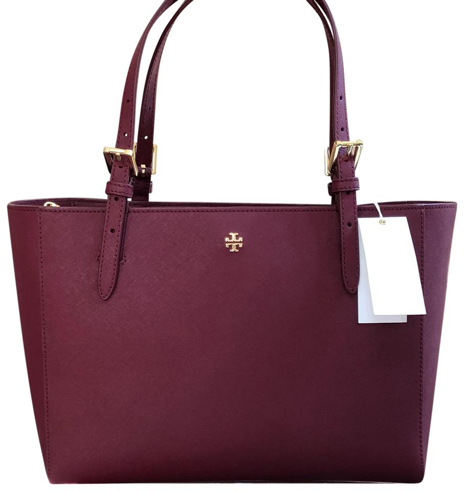 Tory Burch Back To School Gift Leather Holiday Tote In Imperial Garnet