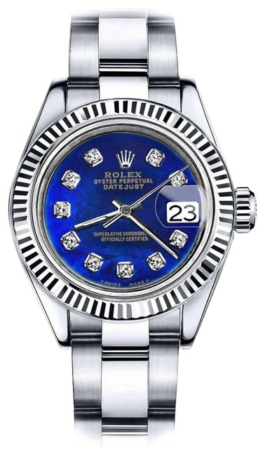 Rolex Stainless Steel Women's 31mm Datejust Blue Color Treated Mop Diamond Dial Watch Rolex Stainless Steel Women's 31mm Datejust Blue Color Treated Mop Diamond Dial Watch Image 1