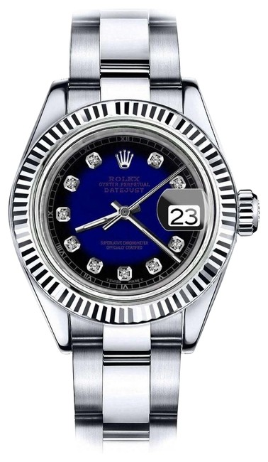 Rolex Women's 31mm Datejust Blue Vignette Color Dial Diamond Accent Rt Watch Rolex Women's 31mm Datejust Blue Vignette Color Dial Diamond Accent Rt Watch Image 1