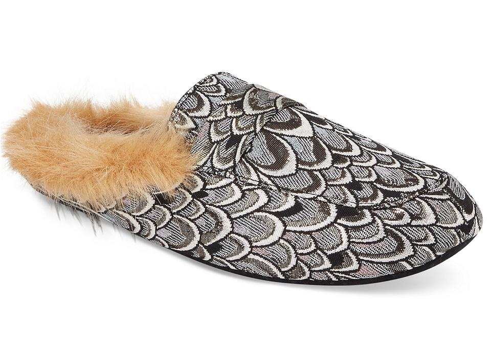 INC International Concepts Silver Mules/Slides Faux Fur Loafer Slippers Mules/Slides Silver ad1cb9