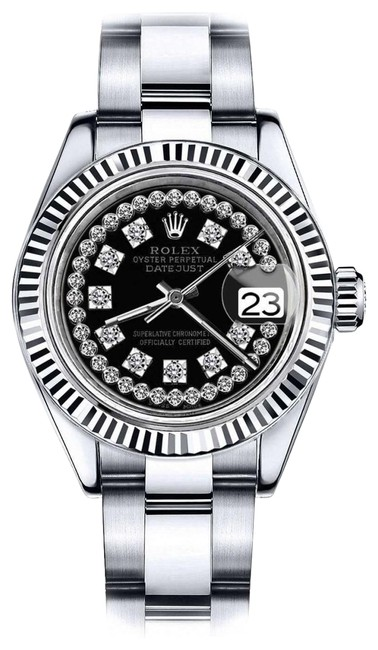 Rolex Stainless Steel Women's 31mm Datejust Glossy Black String Diamond Accent Dial Watch Rolex Stainless Steel Women's 31mm Datejust Glossy Black String Diamond Accent Dial Watch Image 1