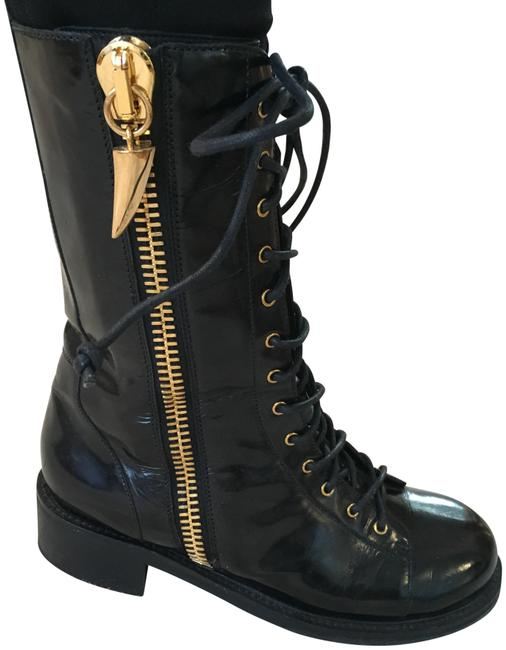 Giuseppe Zanotti Black Patent Leather Lace-up with Gold Hardware Boots/Booties Size EU 39 (Approx. US 9) Regular (M, B) Giuseppe Zanotti Black Patent Leather Lace-up with Gold Hardware Boots/Booties Size EU 39 (Approx. US 9) Regular (M, B) Image 1