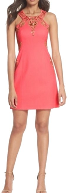 Item - Hot Pink and Gold Tina Stretch Shift Short Casual Dress Size 00 (XXS)