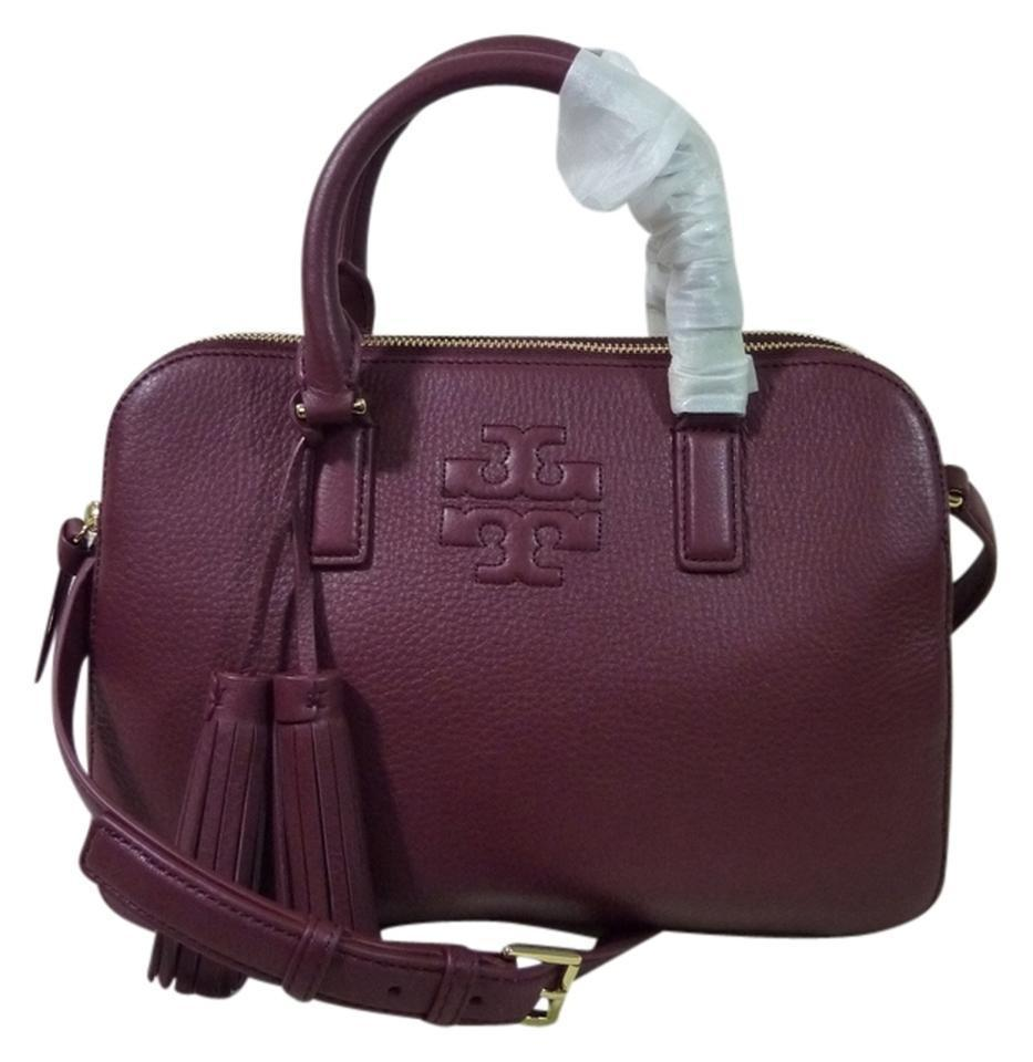 32e823745ac0 Tory Burch Thea Shiraz Small Rounded Double-zip Burgundy Leather ...