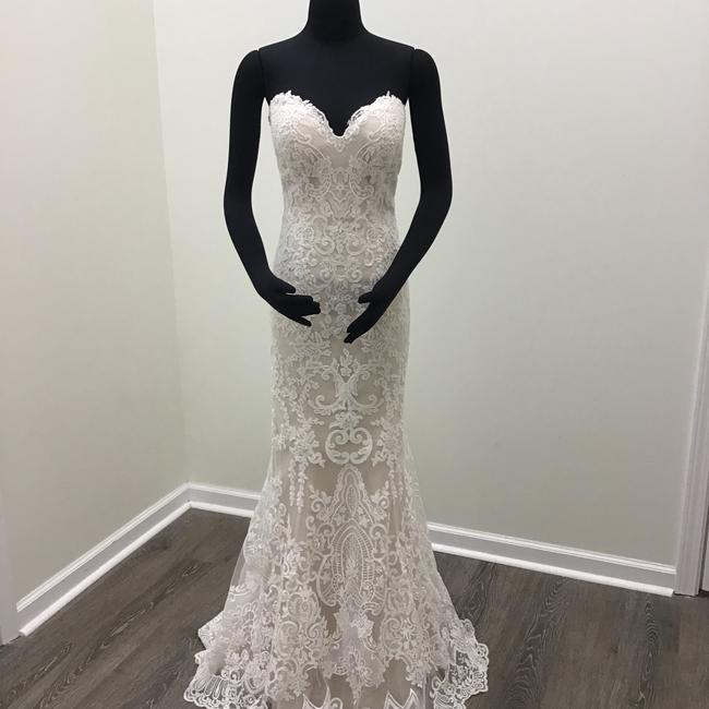 Maggie Sottero Ivory/Champagne Lace Tulle Stephanie Formal Wedding Dress Size 8 (M) Maggie Sottero Ivory/Champagne Lace Tulle Stephanie Formal Wedding Dress Size 8 (M) Image 1