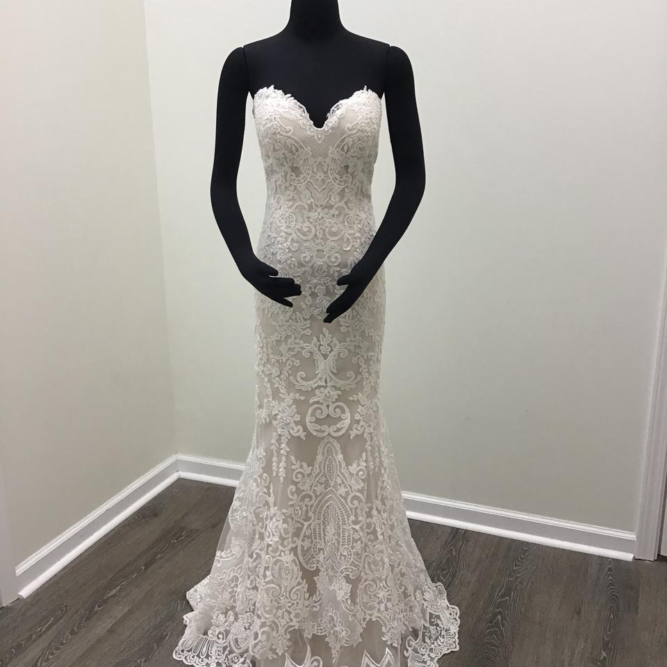 717de197cf7 Maggie Sottero Ivory Champagne Lace Tulle Stephanie Formal Wedding Dress  Size 8 (M) ...