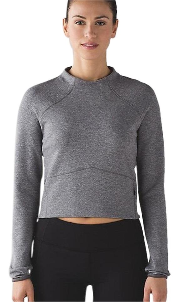 d8805c756fd7f Lululemon Heathered Grey Hill and Valley Mock Neck Crop Activewear Top. Size   4 ...