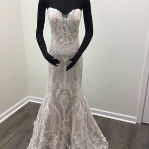 Sottero and Midgley Ivory/Dark Pearl Lace Tulle Kingsley Modern Wedding Dress Size 8 (M)