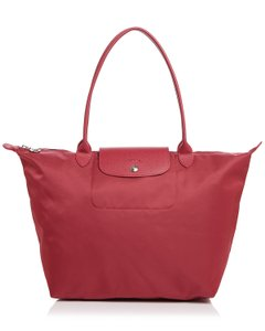 Longchamp Tote in Raspberry/Silver