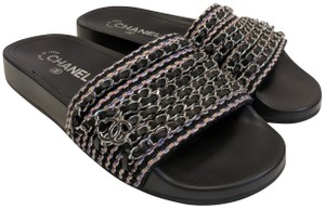 Chanel Sandals Chain Slides Cc Black/Multi Mules