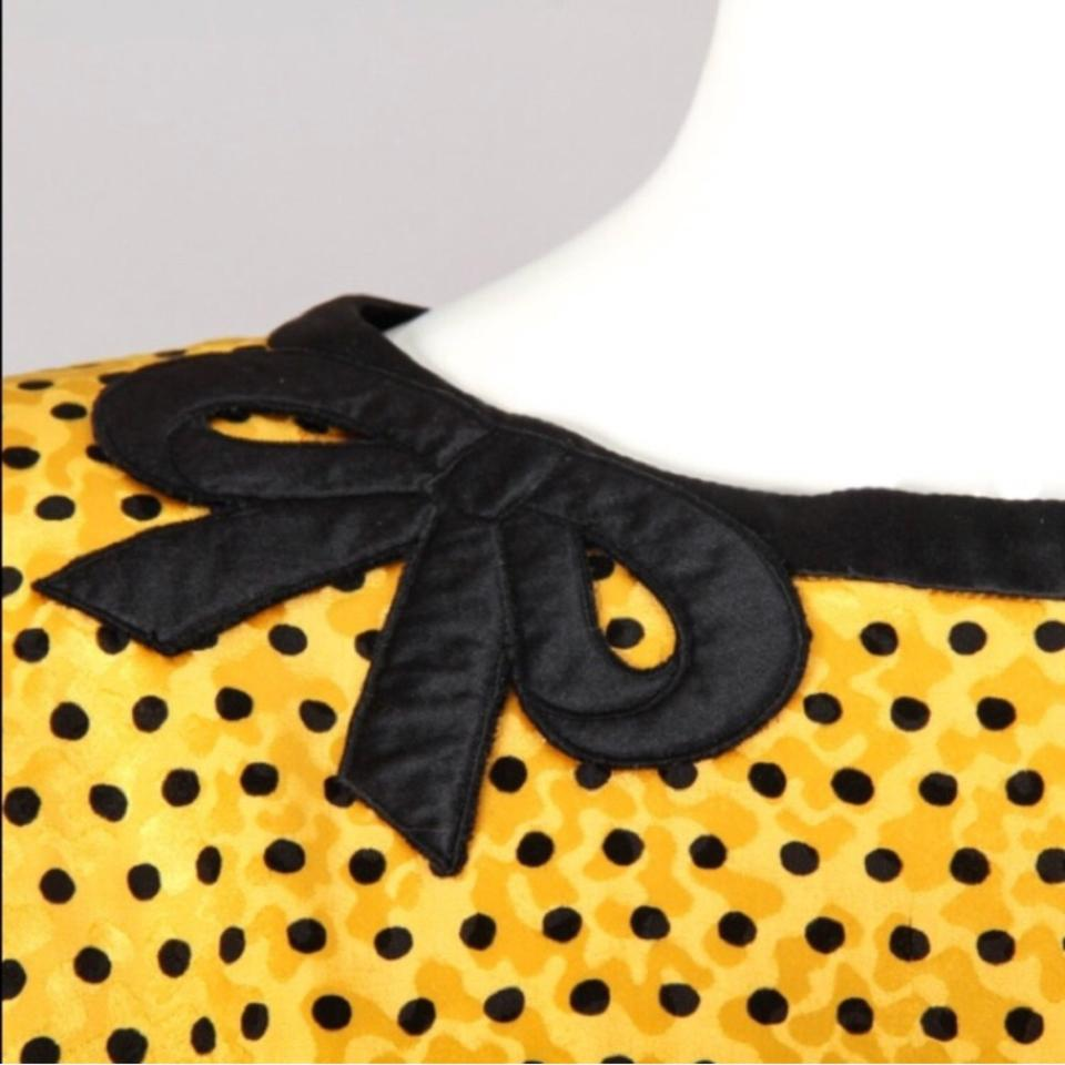 b1b3bc328546 Valentino Black Yellow Night Label Polka Dot Mid-length Cocktail ...