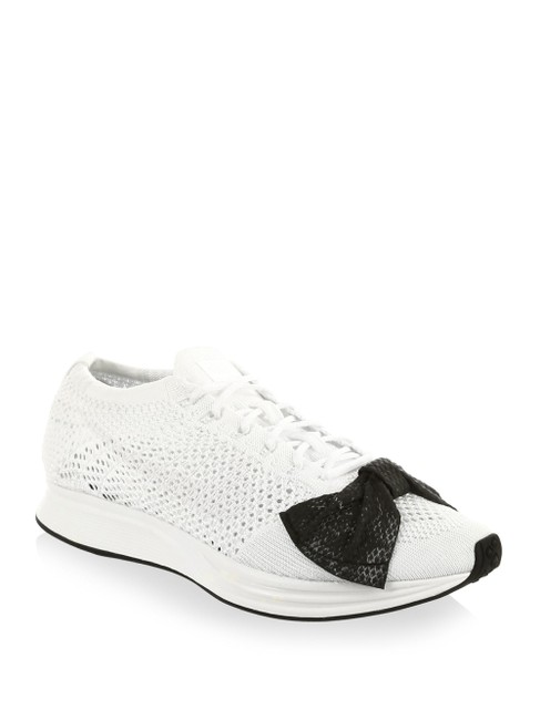 Item - White and Black The Flyknit Racer Sneakers Size US 7.5 Regular (M, B)