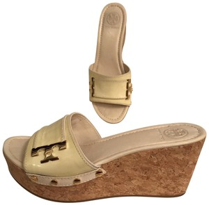 9e93cf8f3 Tory Burch Wedge Platform Patent Leather Cork Leather White Yellow IVORY  Sandals