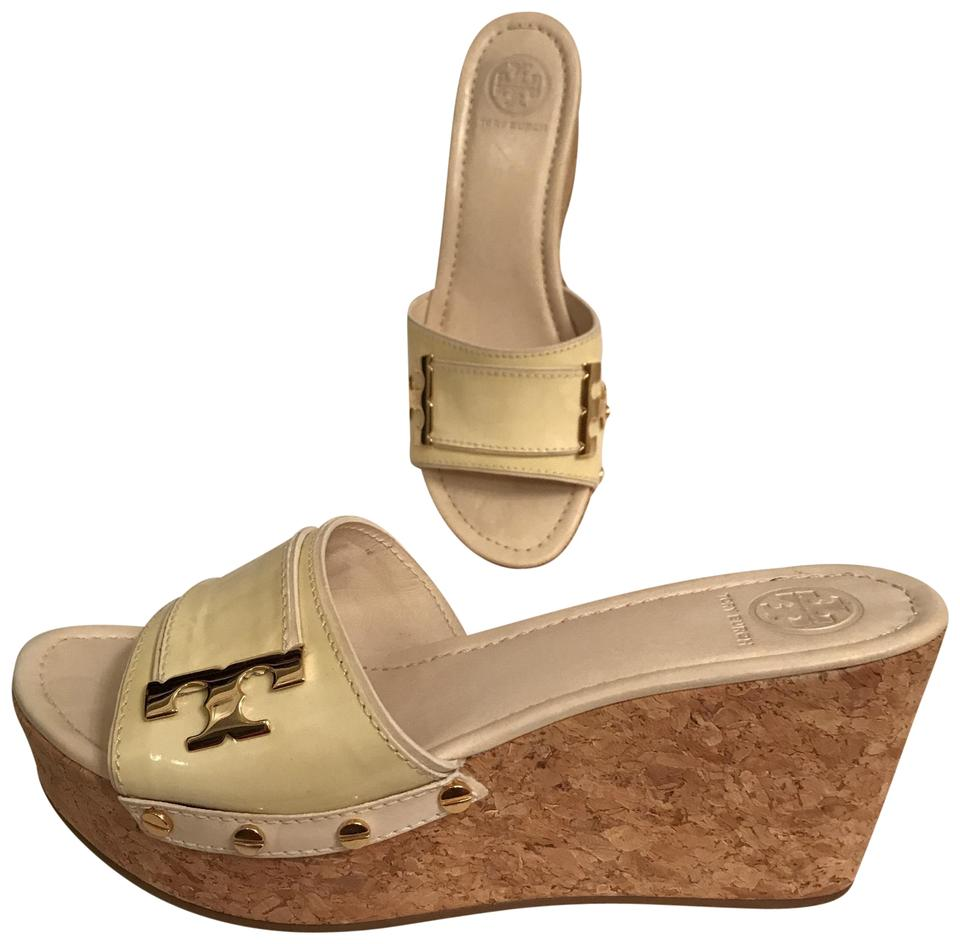 7e51ee8f702 Tory Burch Wedge Platform Patent Leather Cork Leather White Yellow IVORY  Sandals Image 0 ...