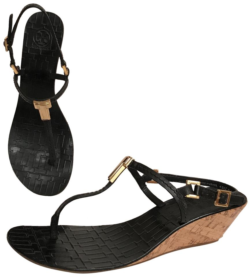 bd5cc2fb6ed5 Tory Burch Black Pauline Demi Wedge Leather Thong Slingback W Cork Heel  Sandals