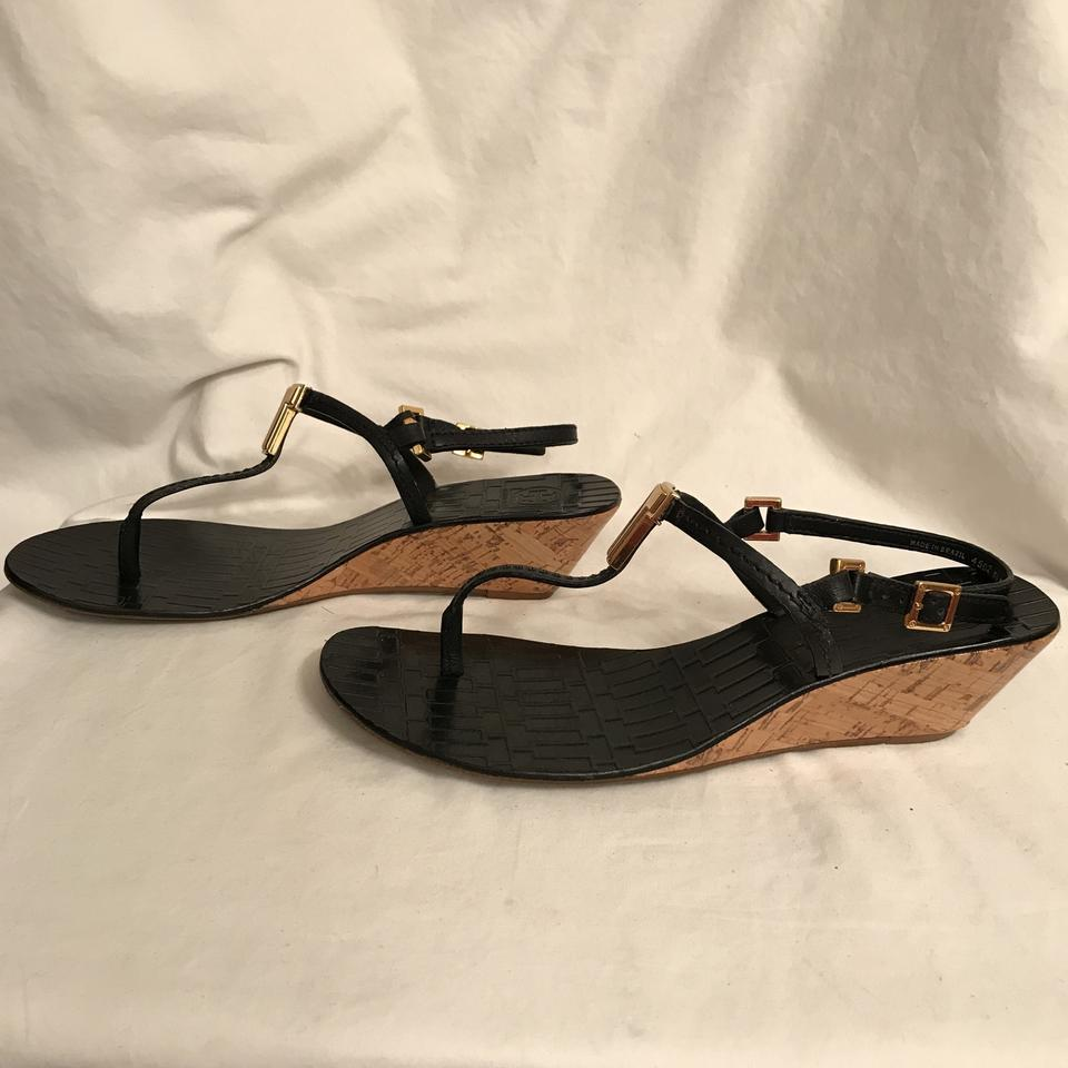 5fe606abb1a6 Tory Burch Wedge Leather Thong Slingback Cork Heel BLACK Sandals Image 8.  123456789