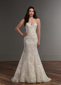 Martina Liana Iv/Stone/Champagne/Oyster Lace 787 Feminine Wedding Dress Size 10 (M)