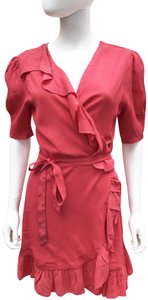 Privacy Please short dress Coral Ruffle V Neck Lined Short Sleeves on Tradesy