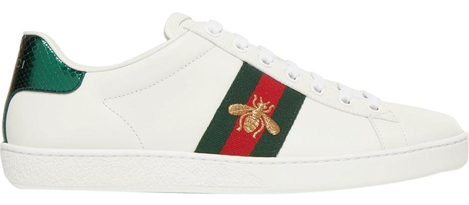 1e418ab7307 Gucci White Gucci s  ace  Watersnake-trimmed Embroiled Sneakers It38 ...