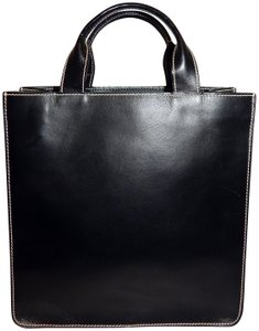 Lambertson Truex Vertical Shopper Leather Tote in Black