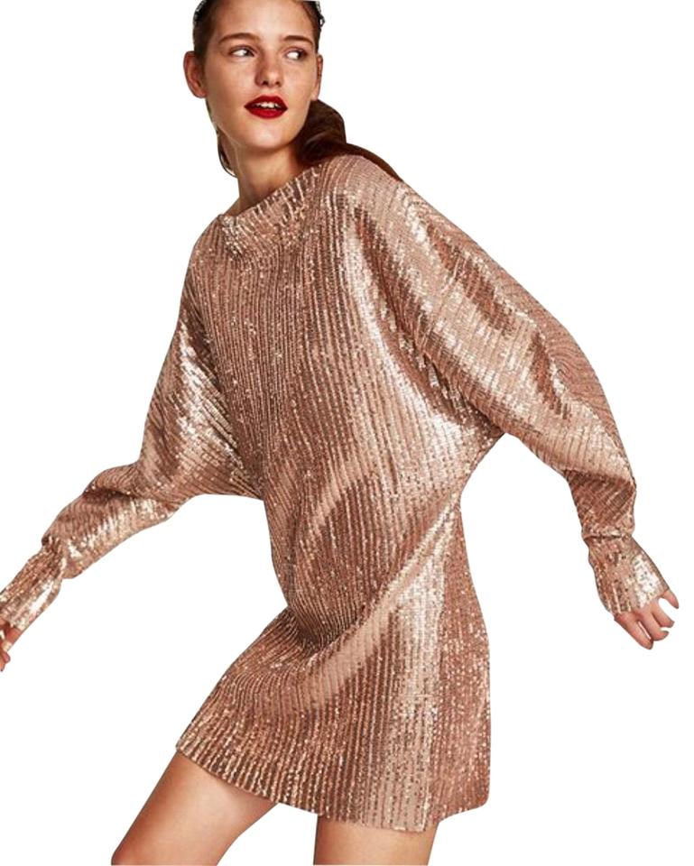f4df2e5066 Zara Rose Gold Sequin Pleated Mid-length Night Out Dress Size 4 (S ...